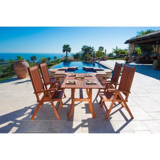 Malibu Eco-friendly 5-piece Wood Outdoor Dining Set with Folding Armchairs