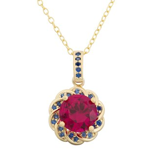 Gioelli Yellow Goldplated Sterling Silver Created Ruby and Created Sapphire Flower Necklace