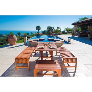 Malibu Eco-friendly 5-piece Wood Outdoor Dining Set with Backless Benches