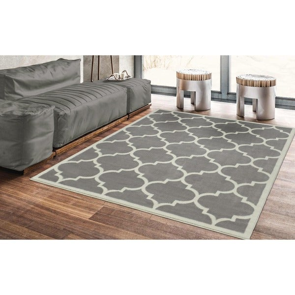 Ottomanson Paterson Collection Contemporary Moroccan Trellis Design Lattice Area Rug