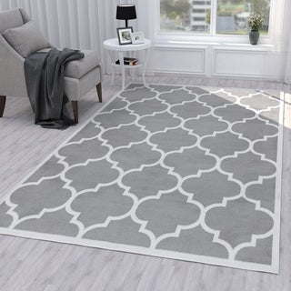 Ottomanson Paterson Collection Contemporary Moroccan Trellis Design Lattice Area Rug (5' x 7')