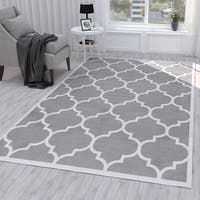 Ottomanson Paterson Collection Contemporary Moroccan Trellis Design Lattice Area Rug - 5' x 7'