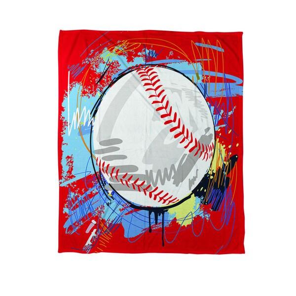 Baseball Homerun Coral Fleece Throw