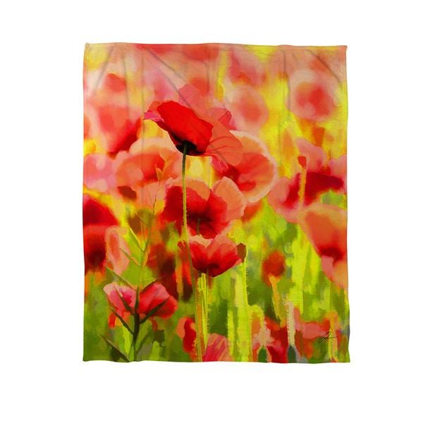Poppies - Coral Fleece Throw