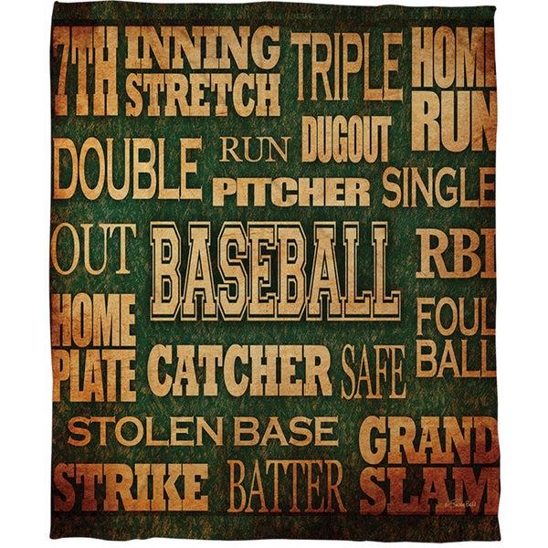 Baseball Words Coral Fleece Throw