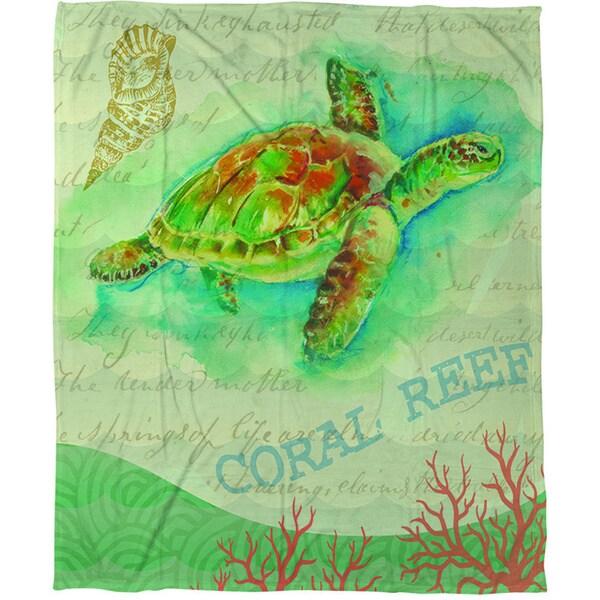Salty Air Sea Turtle Coral Fleece Throw