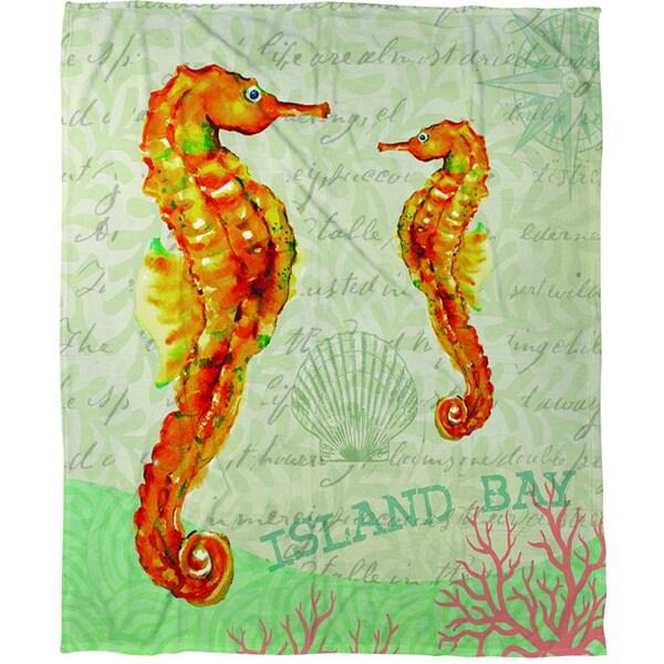 Salty Air Seahorse Coral Fleece Throw