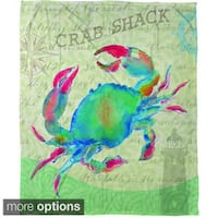 Salty Air Crab - Coral Fleece Throw
