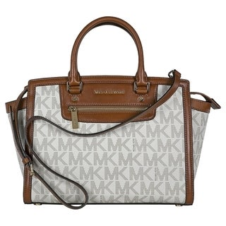 Michael Kors Selma Large Vanilla Logo Top Zip Satchel Handbag