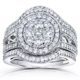 Annello 14k White Gold 1 5/8 TDW Diamond Cluster 3-piece Bridal Set (H-I, I1-I2)