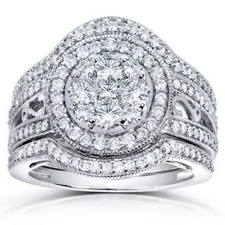 Annello by Kobelli 14k White Gold 1 5/8 TDW Diamond Cluster 3-piece Bridal Set (H-I, I1-I