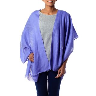 Handmade Wool 'Periwinkle Allure' Shawl (India)