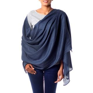 Kashmiri Diamonds Slate Blue 100% Wool Ultra Light Warm Handcrafted Classic Luxurious Day or Night Womens Wrap Shawl (India)