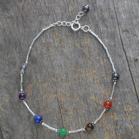 Handmade Sterling Silver 'Love's Health' Multi-gemstone Anklet (India)