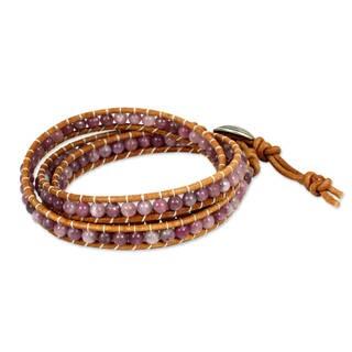 Silver Leather 'Hypnotic Rose' Lepidolite Bracelet (Thailand)