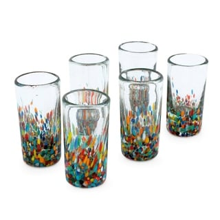 Set of 6 Handcrafted Blown Glass 'Carnival' Shot Glasses (Mexico)