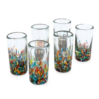 Set of 6 Handmade Blown Glass 'Carnival' Shot Glasses (Mexico)