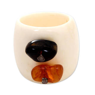 Handmade Bone 'Coral Island' Amber Ring (Indonesia)