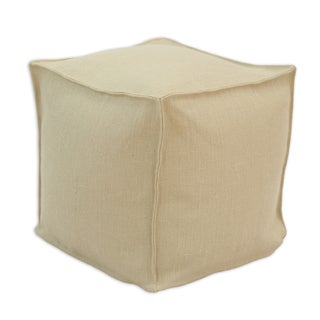 Somette Burlap Natural Square Seamed Beads Ottoman