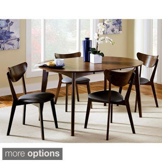 Peony Retro Dark Chestnut Black Seat Dining Set