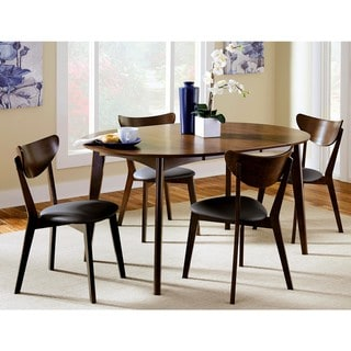 Peony Mid Century Retro Dining Set with Black Upholstered Seats