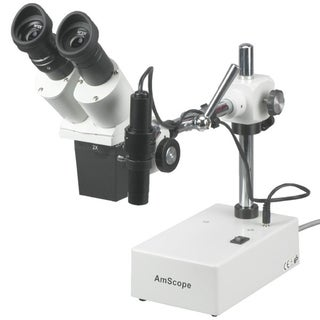 AmScope 20X and 30X Widefield Stereo Microscope with Boom Arm Stand and Incident Light