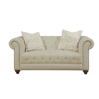 Beige Tufted Loveseat with Accent Pillows
