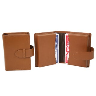 Royce Genuine Bonded Leather Double Playing Card Deck Case (Option: Tan)