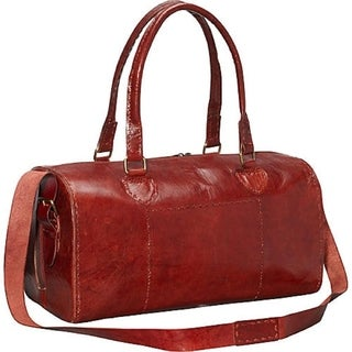 Sharo Red Rounded Leather Carry On Dufflel Bag