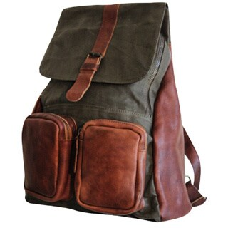 Sharo CL-700 Cache Green Canvas and Brown Genuine Leather Backpack
