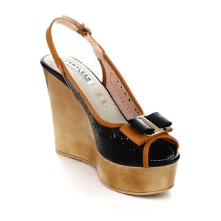 Kayleen LLKA-3 Women's Ankle Strap Slingback Two-Tone Wedges