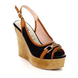 Kayleen LLKA-1 Women's Ankle Strap Slingback Two-Tone Wedges
