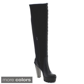 Bumper VANITA-04 Women's Studs Platform Over The Knee High Boots