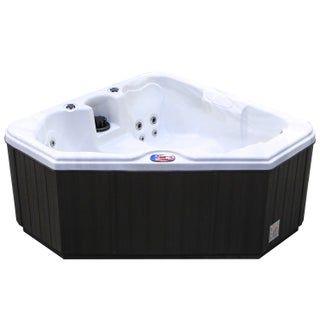 American Spas 2-person 28-Jet Triangle Spa with Multi Color Light (Option: Silver/Off-White)