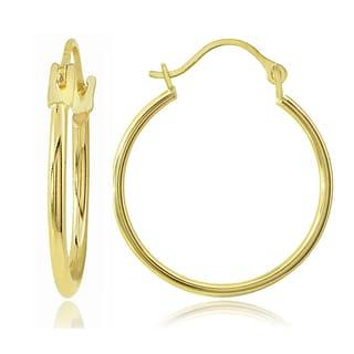 Mondevio 14k Gold 1.3mm Round 1-inch Hoop Earrings