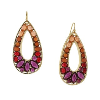 1928 Jewelry Trendy Goldtone Mellow Orange/ Purple/ Red Large Open Teardrop Statement Earrings