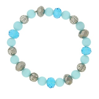 1928 Jewelry Sparkling Silvertone Aqua Blue-color Imitation Cat's Eye and Hematite-color Beaded Stretch Bracelet
