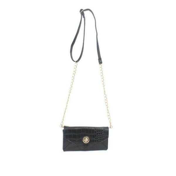 Rebecca And Rifka Croc Embossed Faux Leather Crossbody