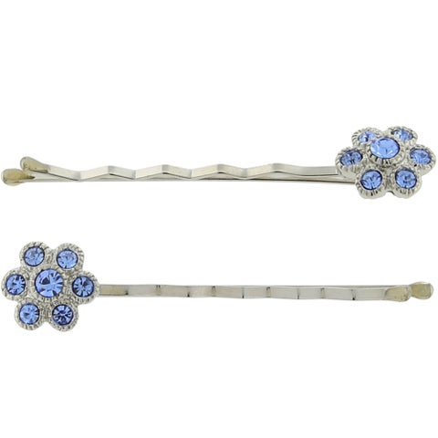 1928 Jewelry Silvertone Blue Crystal Flower Bobby Pin Set