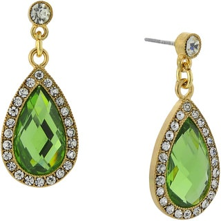1928 Jewelry Lovely Goldtone Green and Crystal Pearshape Drop Earrings