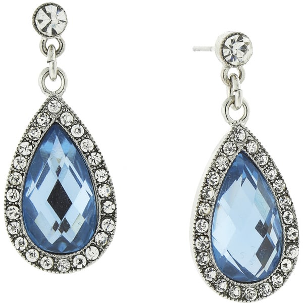 1928 Jewelry Lovely Silvertone Blue and Crystal Pearshape Drop Earrings