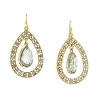 1928 Jewelry Goldtone with Sparkling Crystal Accents and Suspended Pear-shape Drop Earrings