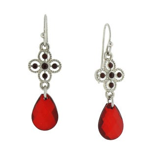 1928 Radiant Silvertone Red Multi-faceted Teardrop Earrings