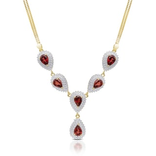 Dolce Giavonna Gold Over Sterling Silver Gemstone 'Y' Necklace with Mirror Jewelry Box