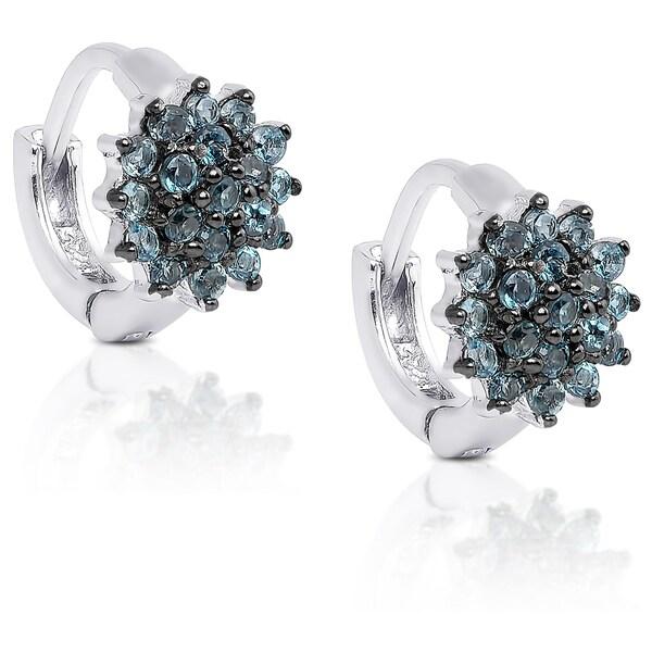 Dolce Giavonna Sterling Silver London Blue Topaz Flower Earrings