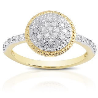 Finesque Gold Over Sterling Silver 1/10ct TDW Diamond Circle Ring