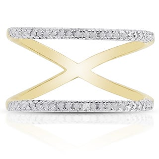 Finesque Gold Over Sterling Silver Diamond Accent Double Row Ring