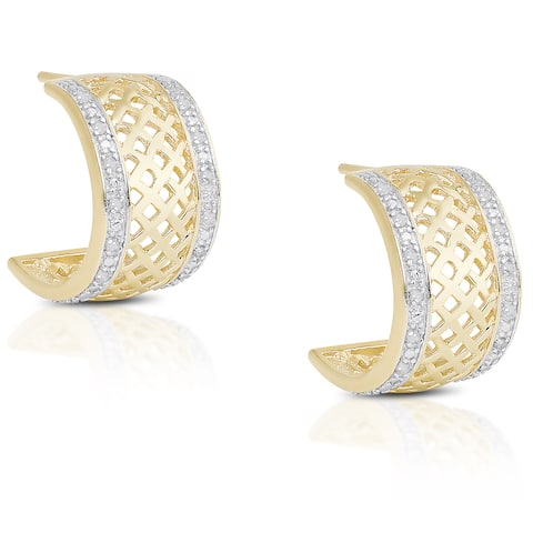 Finesque Gold Over Sterling Silver 1/5ct TDW Diamond Half-Hoop Earrings