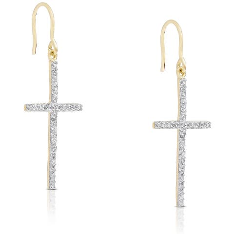 Finesque Gold Over Sterling Silver 1/10ct TDW Diamond Cross Earrings
