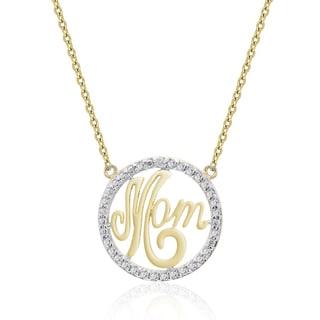 Finesque Gold Overlay Diamond Accent 'Mom' Necklace (I-J, I2-I3)
